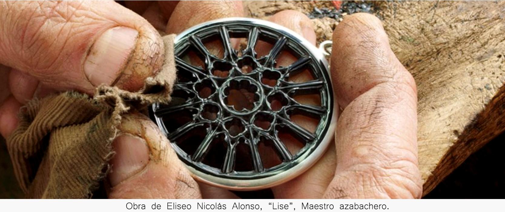"""Rosetón de azabache del maestro azabachero Eliseo Nicolás Alonso, """"Lise"""""""