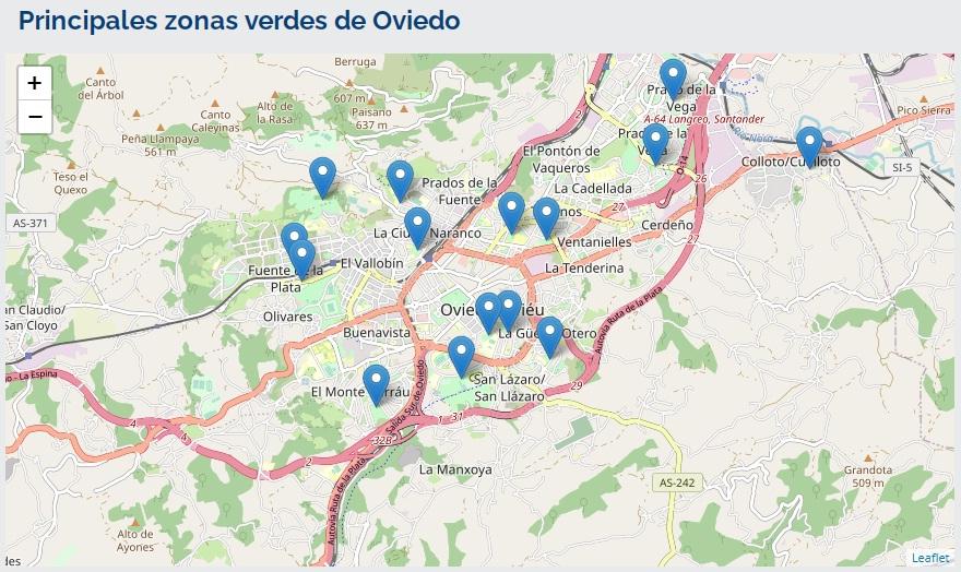 Principales zonas verdes en Oviedo