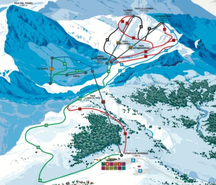 Mapa de pistas de esquí de Fuentes de Invierno (Asturias)