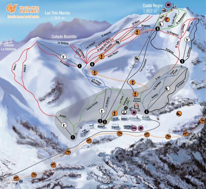 Mapa de pistas de esquí de Valgrande-Pajares (Asturias)